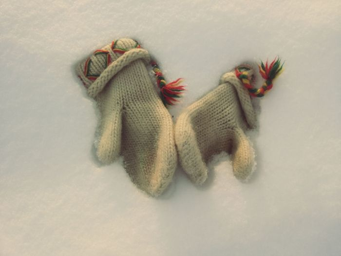 Gloves in the snow