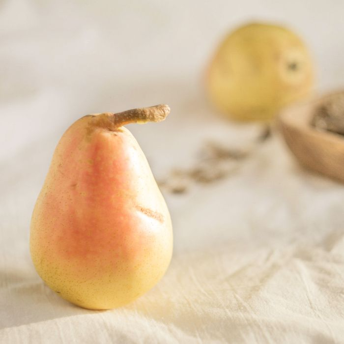 Blushing shy pears with a texture