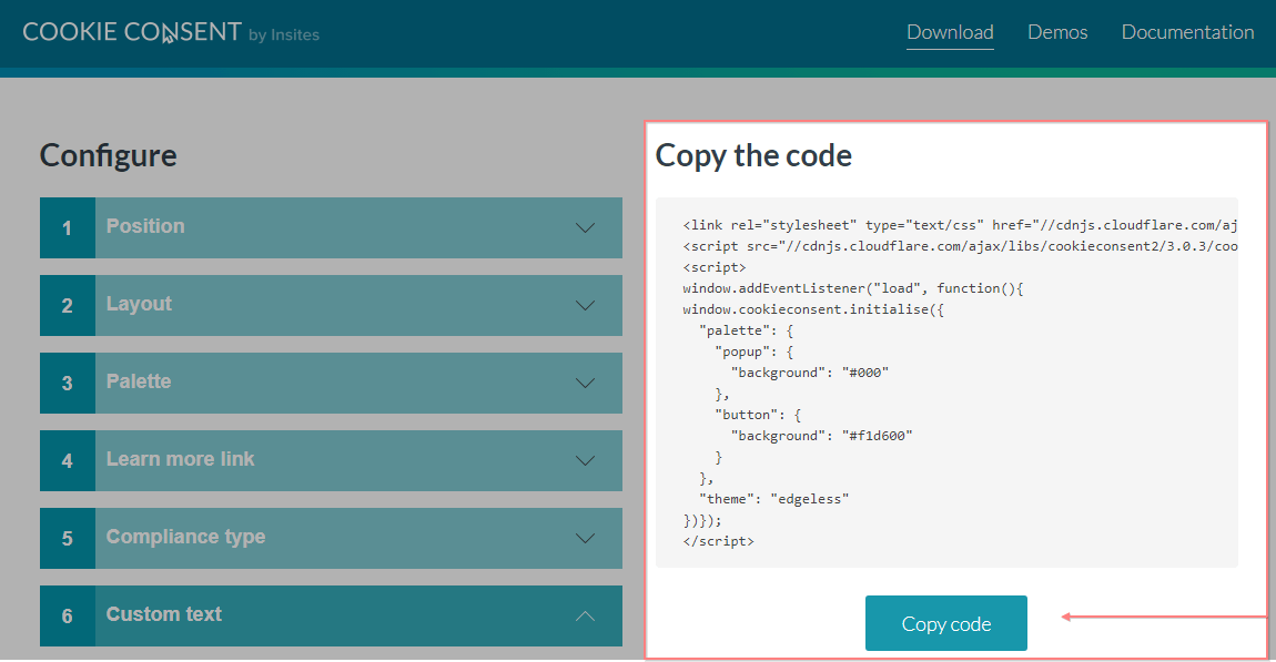 Copying the cookie consent code