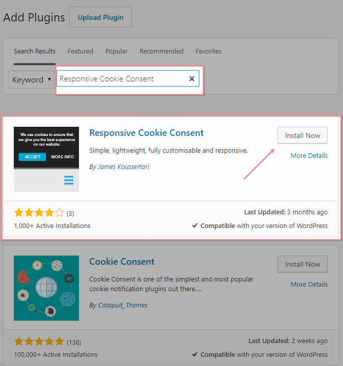 installing the responsive cookie consent plugin