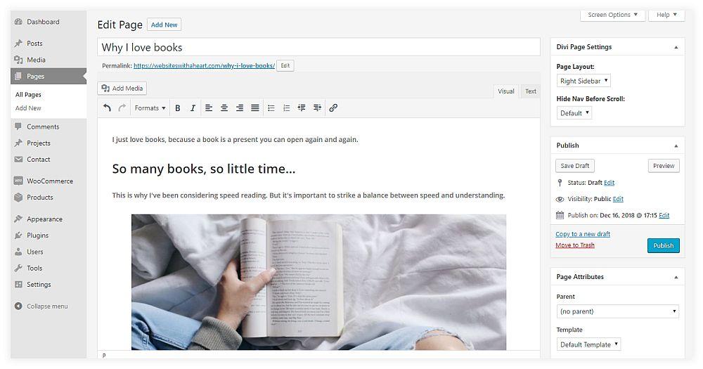 Screenshot of the classic WordPress editor before the WordPress 5 update