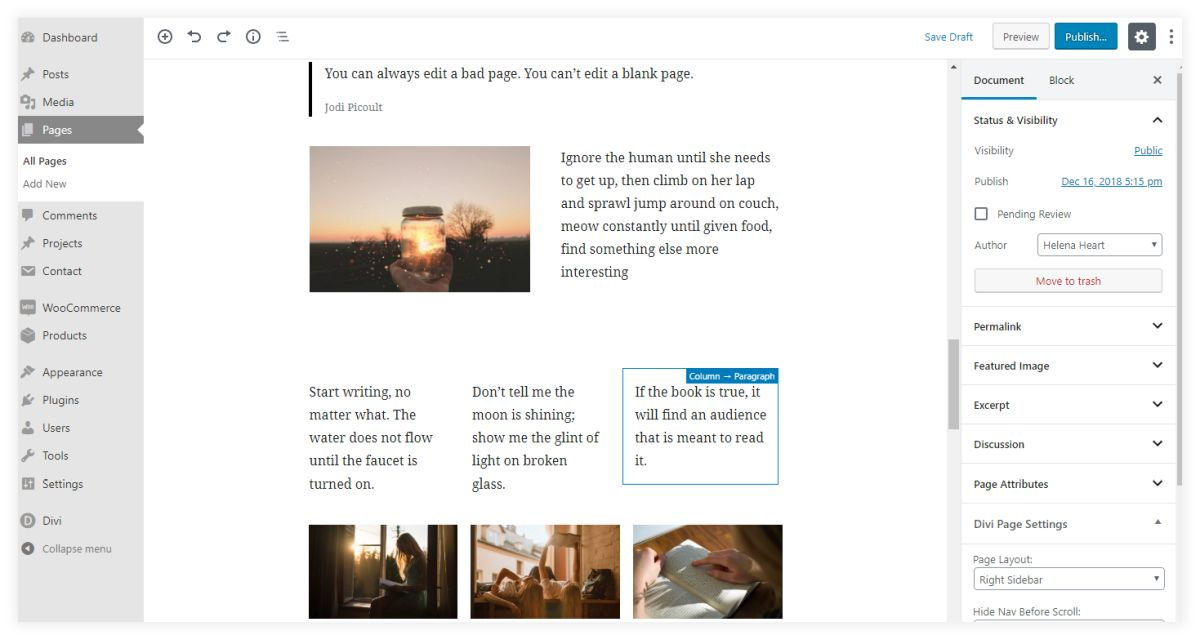 more advanced layouts with Gutenberg