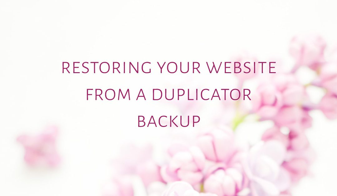 Restoring your website from a Duplicator backup