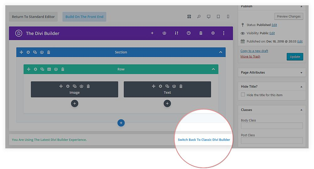 screenshot of Divi backend builder with link to switch to classic builder