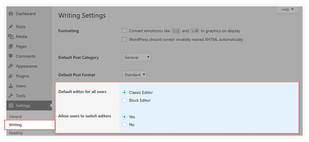WordPress' writing settings with the classic editor plugin installed